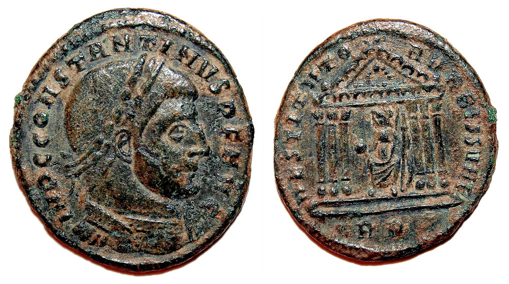 Follis issued by Constantine I in the Rome mint with reverse legend RESTITVTORI VRBIS SVAE.