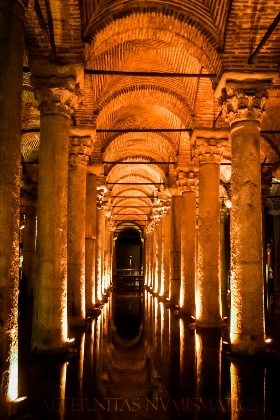 Interior of the large cistern built by Justinian I.
