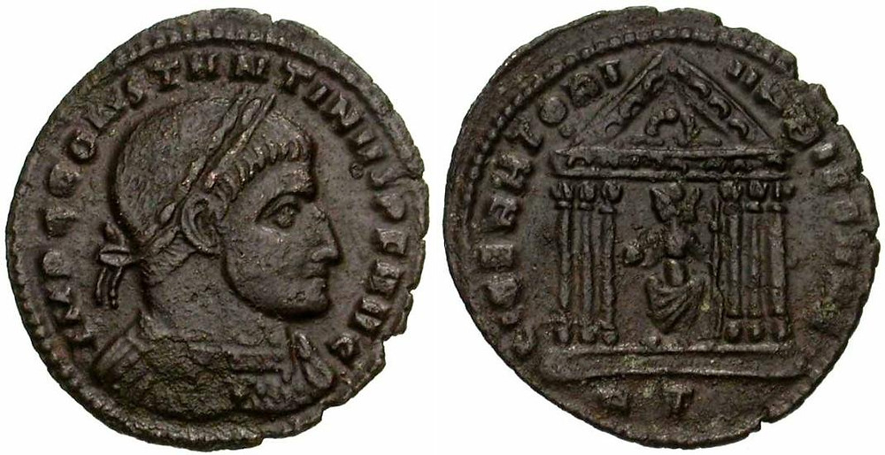 Follis issued by Constantine I in the Rome mint with reverse legend LIBERATORI VRBIS SVAE.