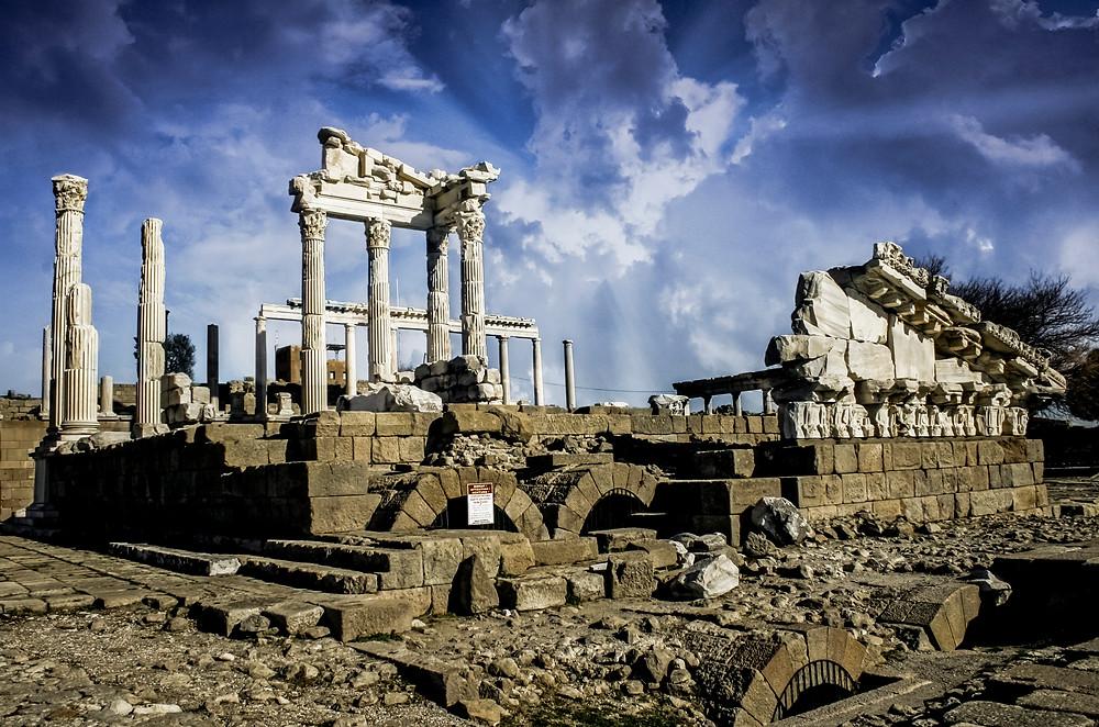 The temple of Trajan or Trajaneum Pergamon Turkey