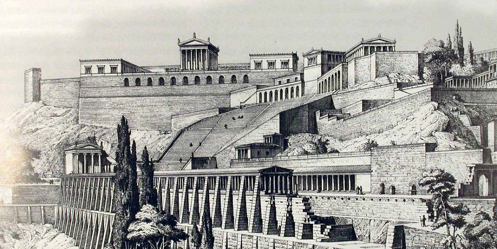 Artistic representation of the southern front of the pergamene acropolis in the middle of the 3rd century AD.
