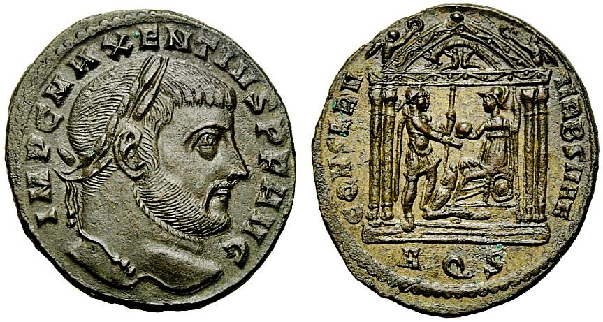 Follis of Maxentius issued in Aquileia mint.