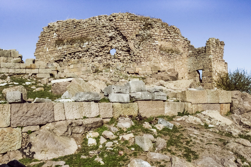 Byzantine tower of 12th century flanking the final stretch of road before penetrating the fortified acropolis.