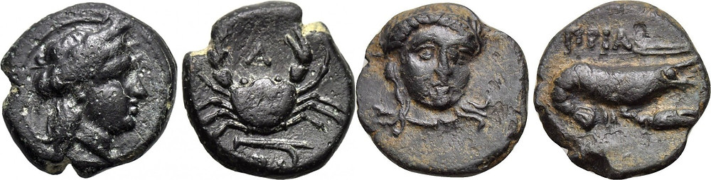 Bronzes of small size minted in Priapos in 3rd century BC.