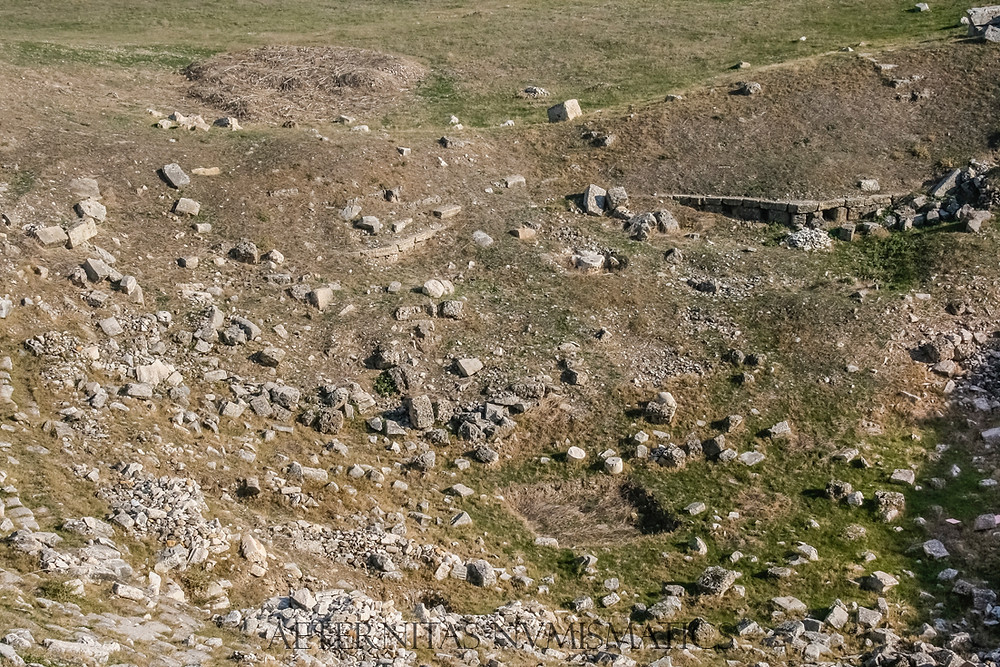 Laodicea: Remains of the scene of the northern theater. In front of its orchestra totally buried by the landslides.