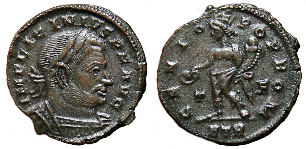 Reduced Follis coined in the first office of Treveris in the name of  Licinius I