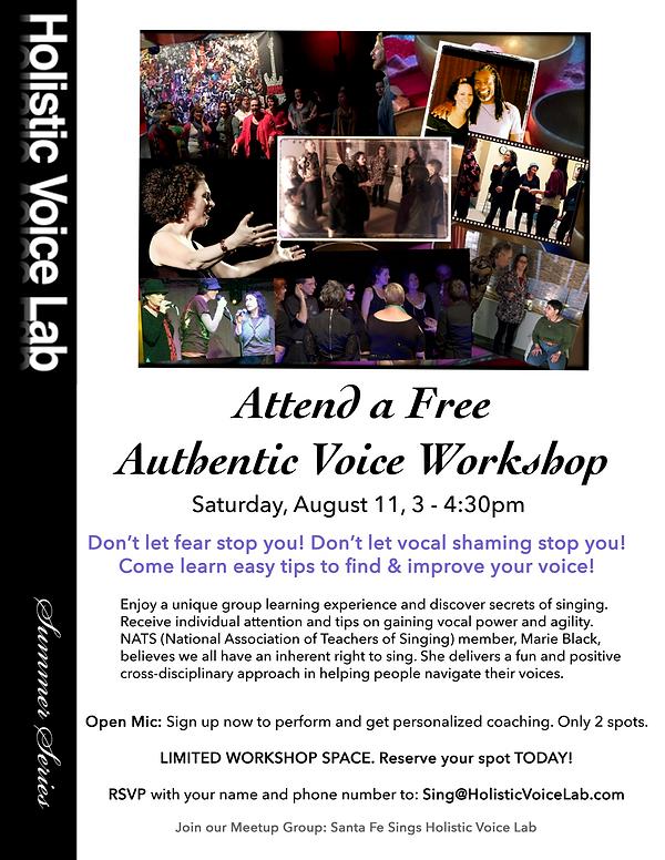 Free Authentic Voice Workshop Flyer Summ