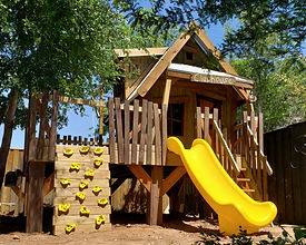 Rustic Cabin Treehouse by Imagine THAT Playhouses