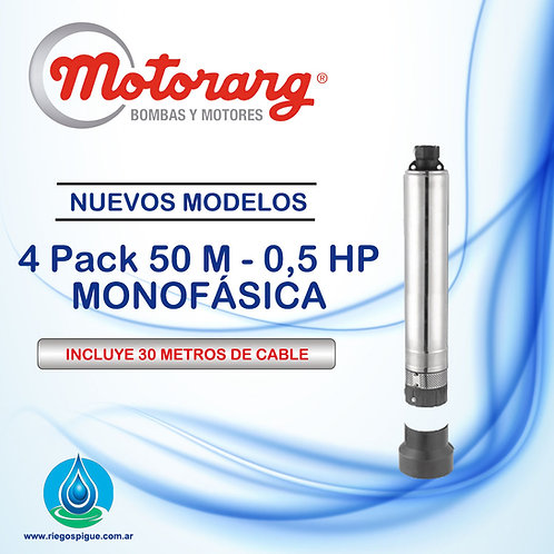 BOMBA SUMERGIBLE MOTORARG 4PACK 50 _ 0,5HP MONOFASICA _ 4 PULGADAS
