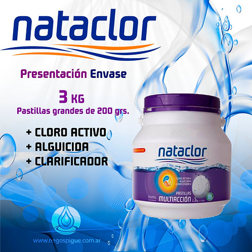 PASTILLAS DE CLORO MULTIACCION 200GR DE 3KG NATACLOR RINDE +