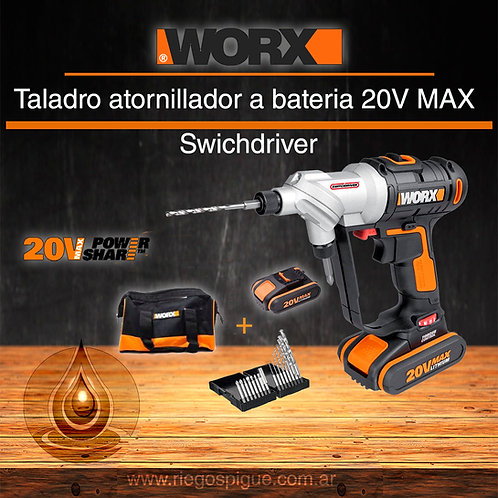 TALADRO_ATORNILLADOR A BATERIA 20V MAX _ WORX WX176