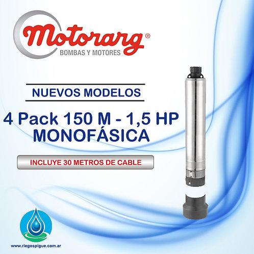 BOMBA SUMERGIBLE MOTORARG 4PACK 150 _ 1,2HP MONOFASICA _ 4 PULGADAS