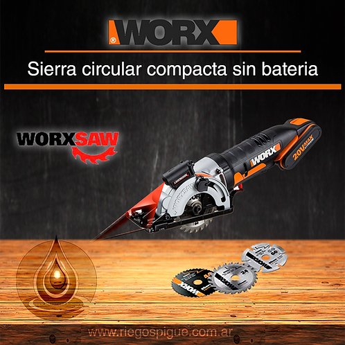 SIERRA CIRCULAR A BATERIA 20V MAX _ WORX WX523 _ NO INCLUYE BATERIA