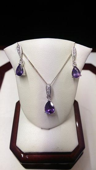 925 Sterling Silver Pendant & Earring Set