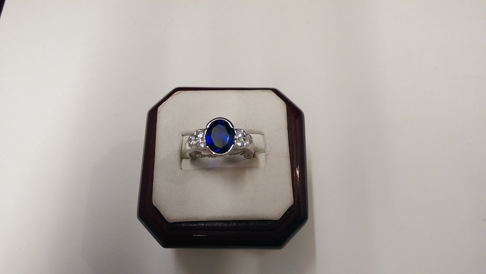 925 Sterling Silver Blue and White CZ Ring