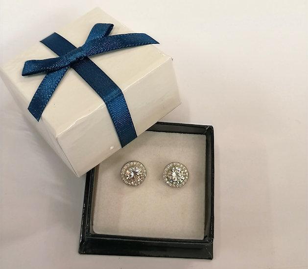 Silver Halo CZ earrings