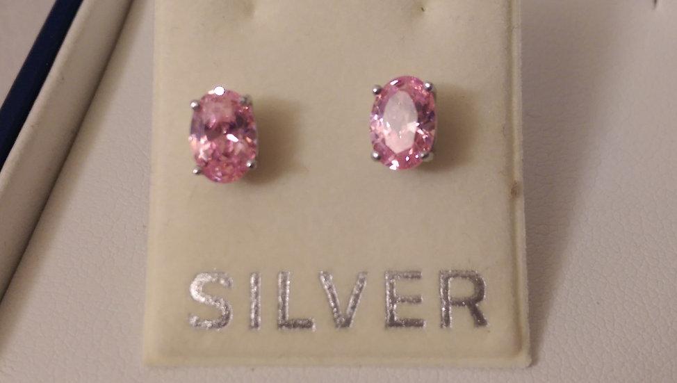 925 Sterling Silver Pink CZ Earrings