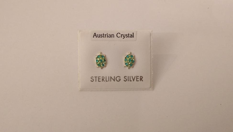 925 Sterling Silver Green CZ Turtle Earrings