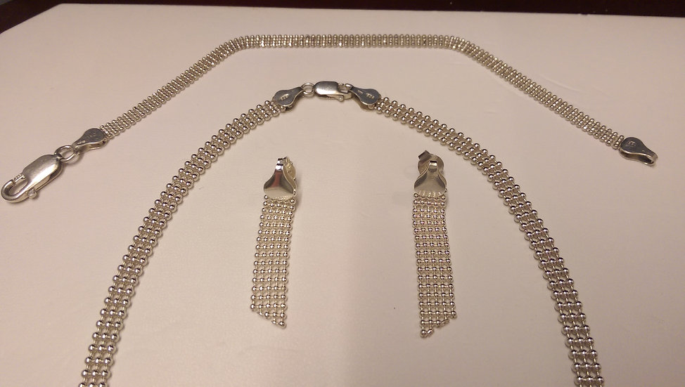925 Sterling Silver Necklace, Bracelet, Earrings
