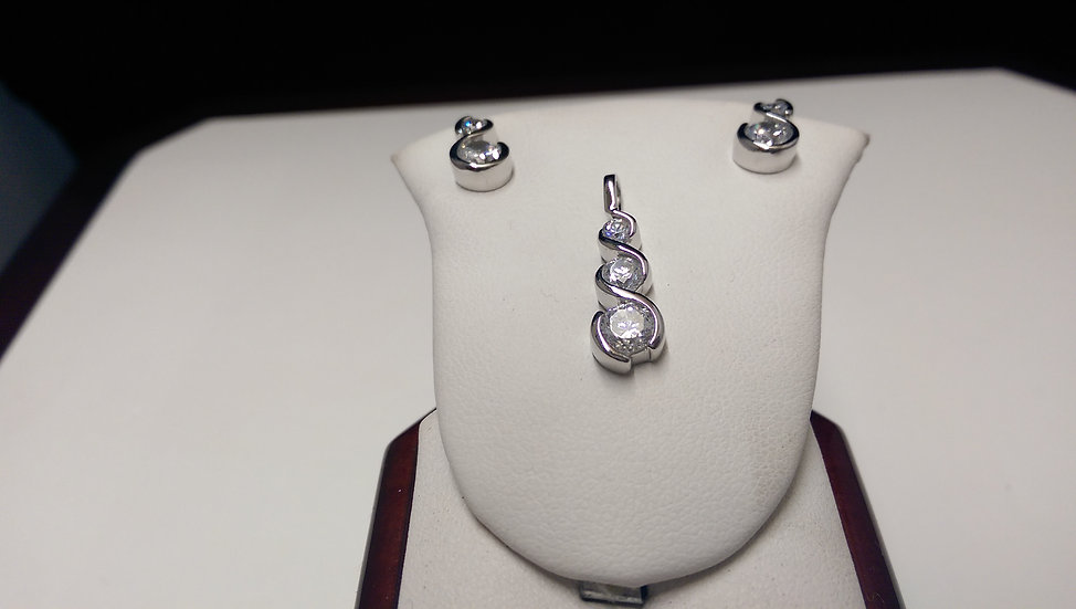 925 Sterling Silver Pendant & Earring Set