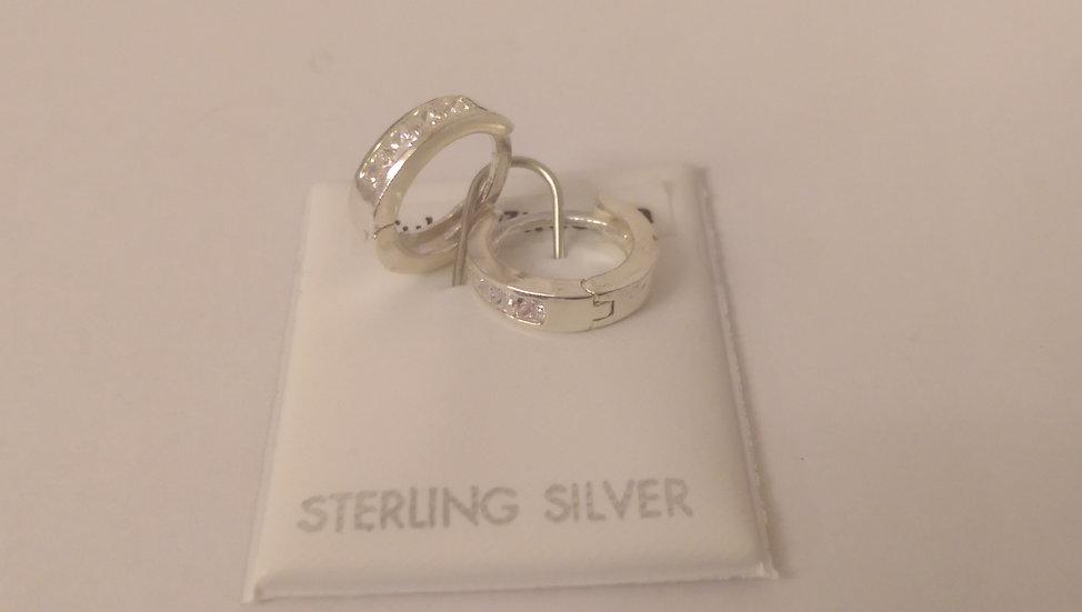 925 Sterling Silver Fancy Hoop Earrings
