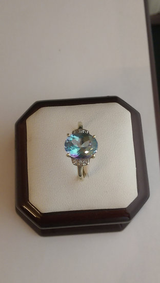 Second Hand 9ct Gold Mystic Topaz & Diamond Ring