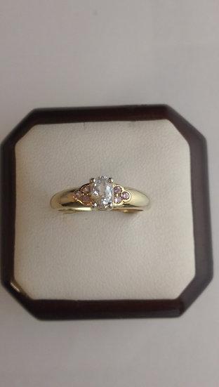 Second Hand 9ct Gold Aquamarine & Diamond Ring