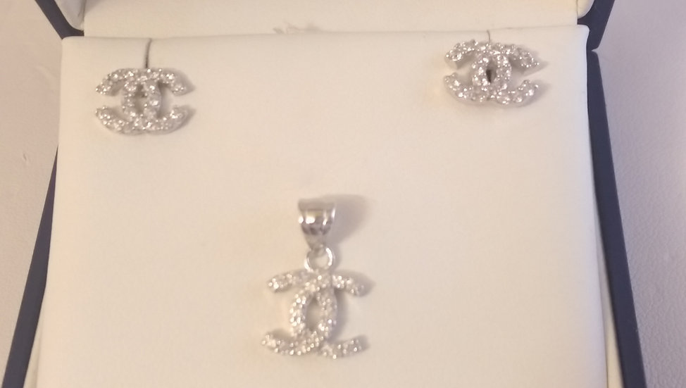 925 Sterling Silver CC White CZ Pendant & Earring