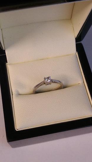 9ct White Gold 0.15pt Single Stone Diamond Ring