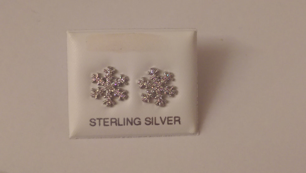 925 Sterling Silver Snow Flakes Earrings