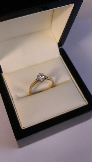 18ct Yellow Gold 0.33pt Single Stone Diamond Ring