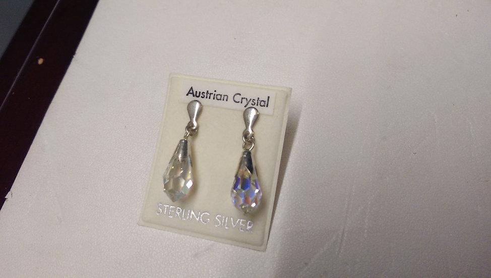 925 Sterling Silver White Crystal Earrings