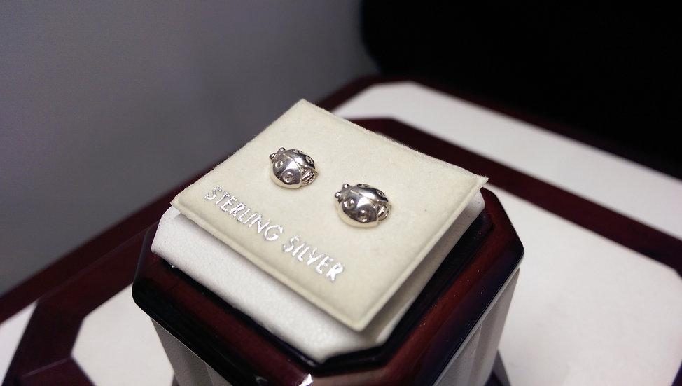 925 Sterling Silver Ladybug Earrings