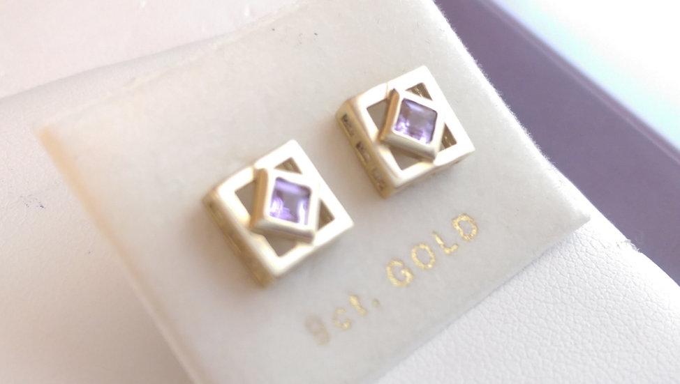 9ct Gold Purple CZ Earrings