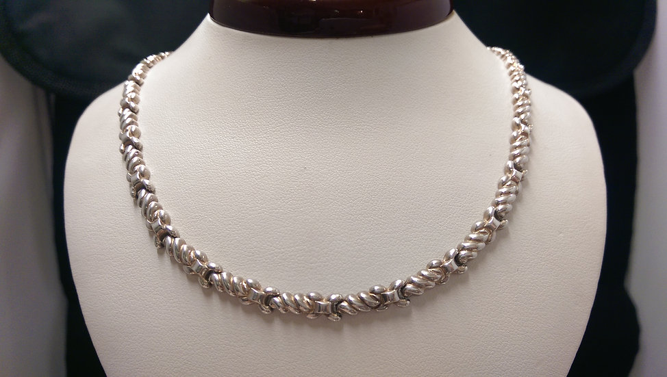 925 Sterling Silver Fancy Necklace 17 Inches