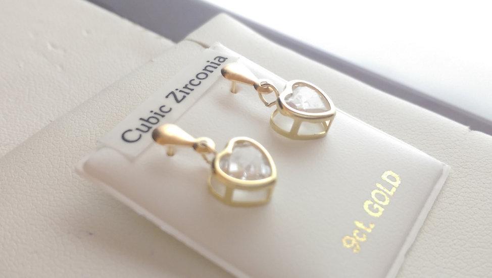 9ct Gold CZ Dropper Earrings