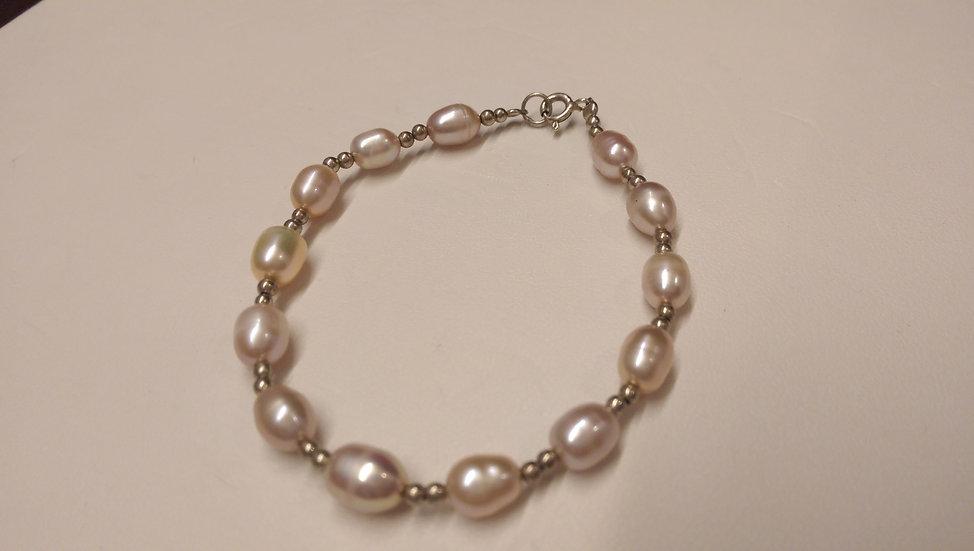 925 Sterling Silver Pearl Bracelet