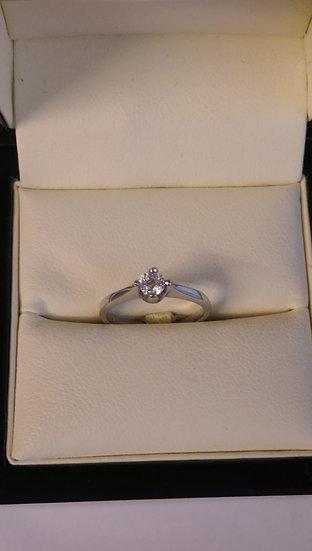 9ct White Gold 0.20pt Single Stone Diamond Ring