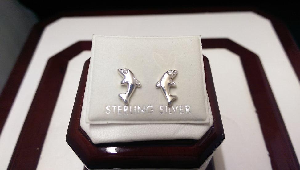 925 Sterling Silver Dolphin CZ Earrings