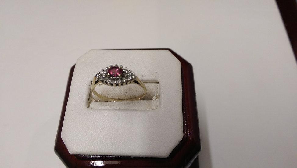 Second Hand 9ct Gold Diamond & Garnet Ring