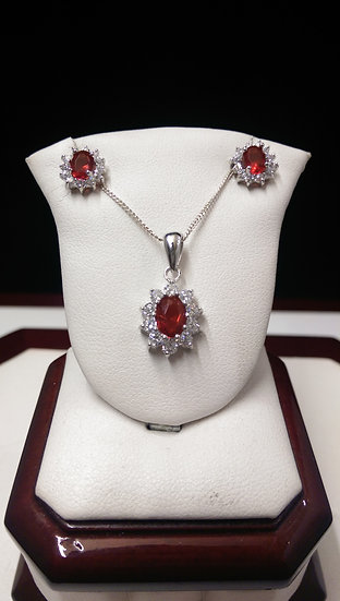 925 Sterling Silver Pendant & Earring Set 18 inche