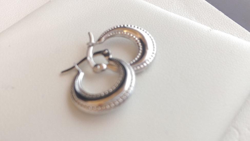 9ct White Gold Fancy Hoop Earrings