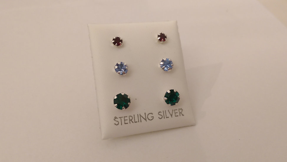 925 Sterling Silver Set of 3 Stud Earrings
