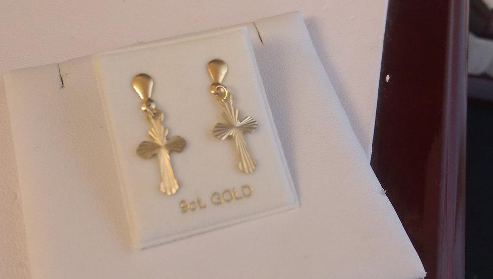 9ct Gold Cross Dropper Earrings