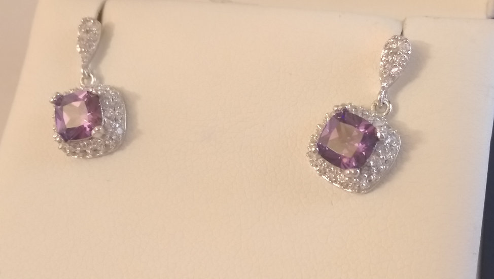 925 Sterling Silver Purple & White CZ Droppers