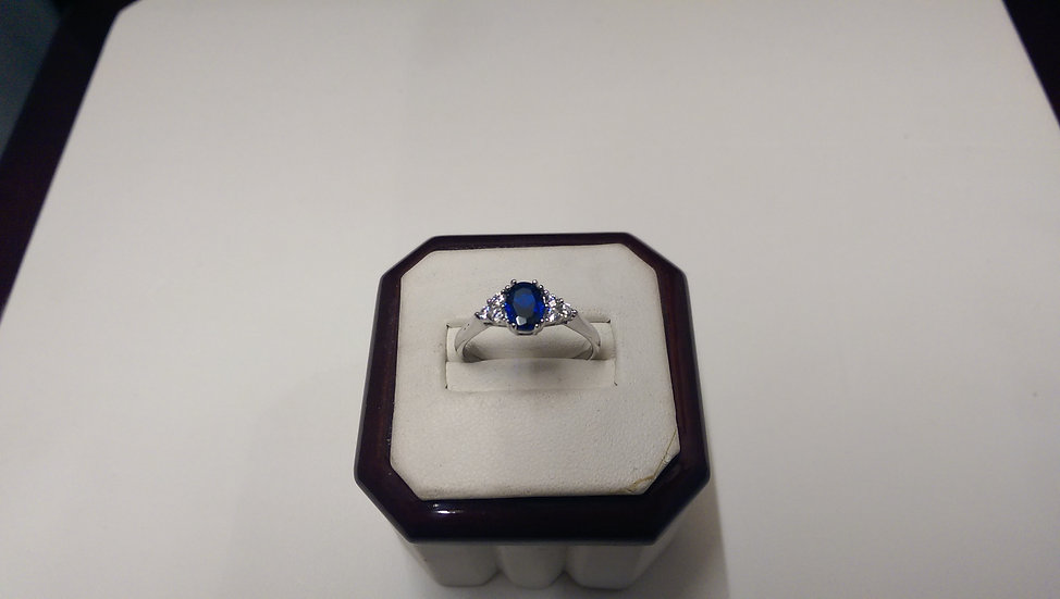 925 Sterling Silver White and Blue CZ Ring