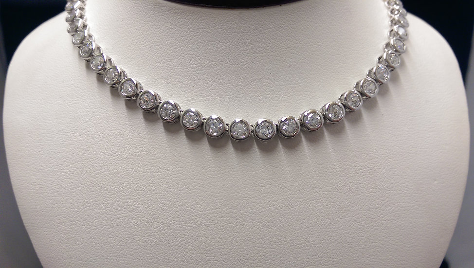 925 Sterling Silver CZ Necklace 16 inches