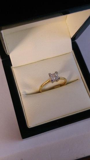 18ct Yellow Gold 0.25pt Single Stone Diamond Ring