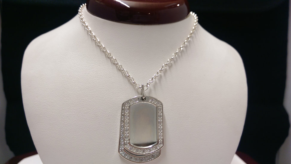 925 Sterling Silver CZ Tag Necklace 20 inches
