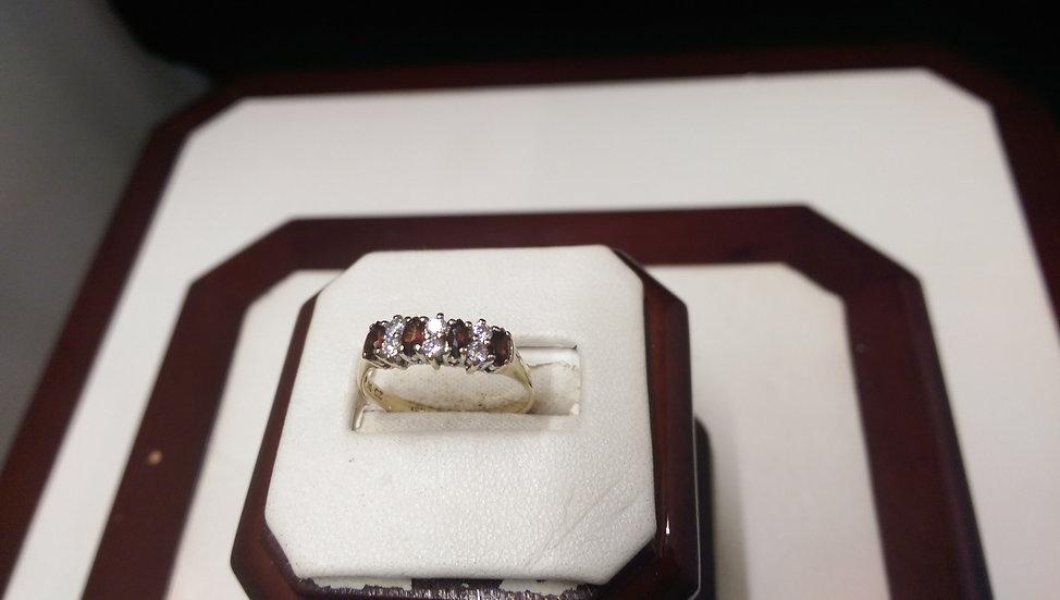 Second Hand 9ct Gold Garnet & CZ Ring